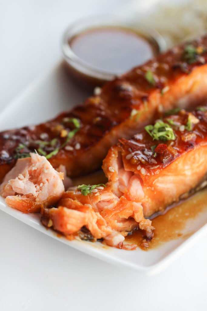 Close-up picture of salmon that has garnished with spring onion and sesame seeds